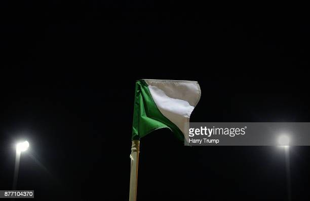 Detailed view of a corner flag during the Sky Bet League Two match between Yeovil Town and Notts County at Huish Park on November 21, 2017 in Yeovil,...