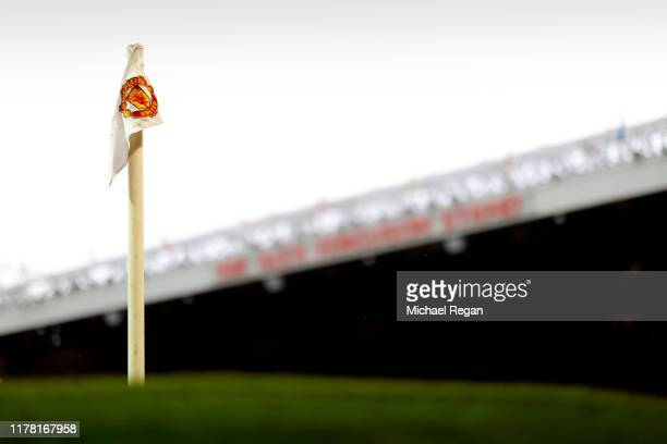 Detailed view of a corner flag inside the stadium ahead of the Premier League match between Manchester United and Arsenal FC at Old Trafford on...