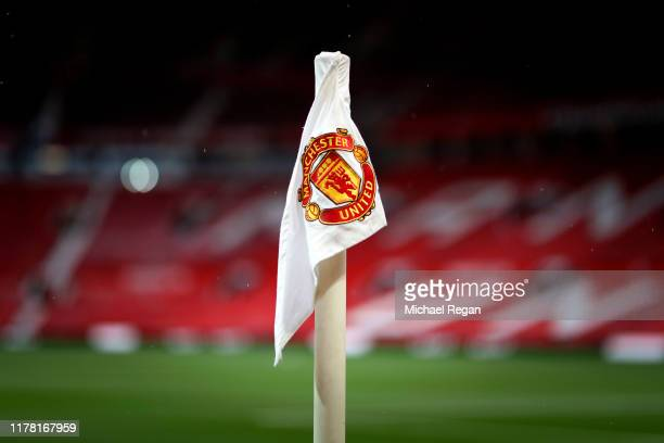 A detailed view of a corner flag inside the stadium ahead of the Premier League match between Manchester United and Arsenal FC at Old Trafford on...