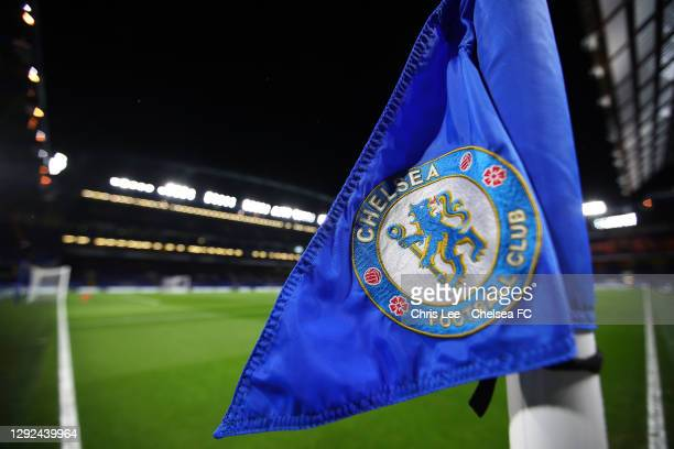 Detailed view of a corner flag inside the stadium prior to the Premier League match between Chelsea and West Ham United at Stamford Bridge on...