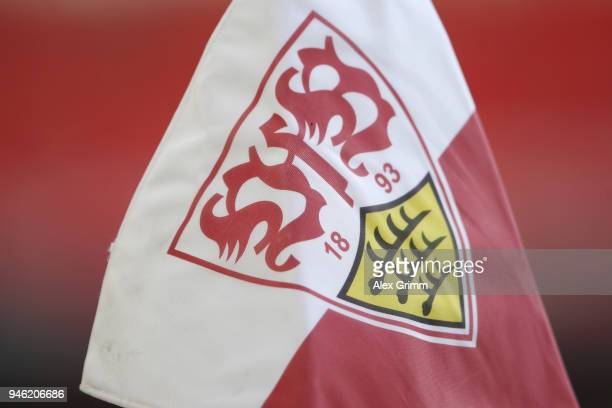 A detailed view of a corner flag prior to the Bundesliga match between VfB Stuttgart and Hannover 96 at MercedesBenz Arena on April 14 2018 in...