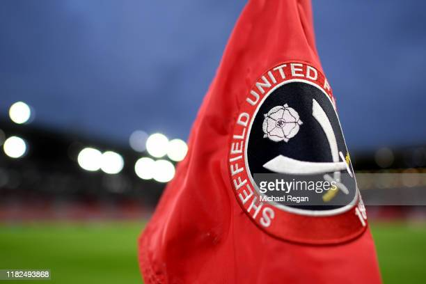 A detailed view of a corner flag with the Sheffield United logo on is pictured inside the stadium ahead of the Premier League match between Sheffield...