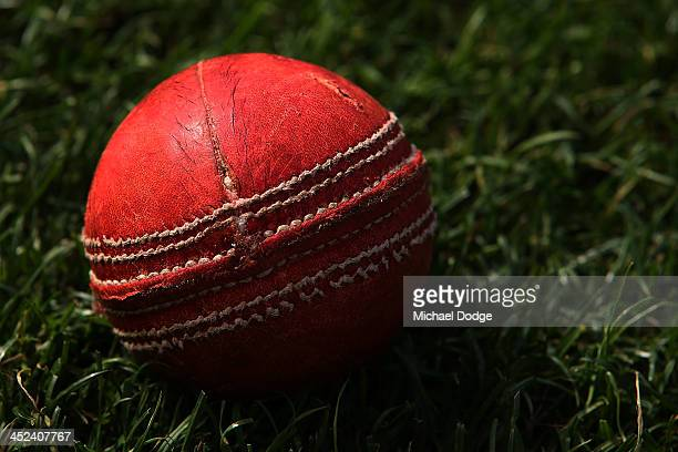 A detailed view of a cricket ball is seen during day one of the Sheffield Shield match between the Victoria Bushrangers and the South Australia...