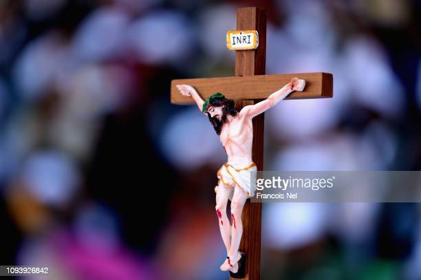 Detailed view of a crucifix prior to the Mass at Zayed Sport City on February 5 2019 in Abu Dhabi United Arab Emirates Pope Francis will visit the...