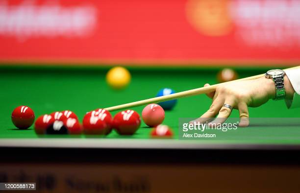 Detailed view of a cue and snooker balls during the Final of the Dafabet Masters between Stuart Bingham and Ali Carter at Alexandra Palace on January...