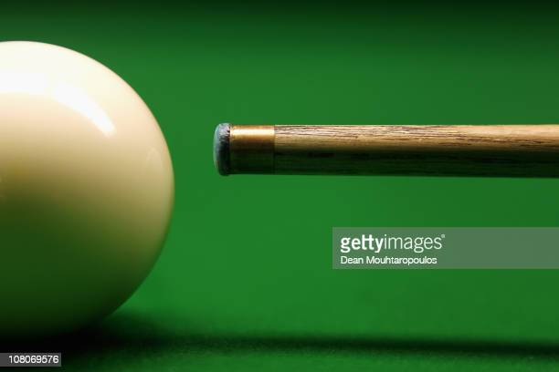 A detailed view of a cue and white ball shot in the practice room during The Ladbrokesmobile Masters on Day 7 at Wembley Arena on January 15 2011 in...