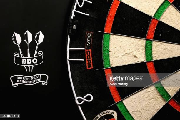 A detailed view of a dart board prior to the final of the BDO World Darts Championship at Lakeside Country Club on January 14 2018 in Camberley...