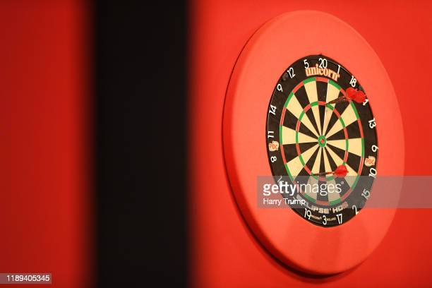 Detailed view of a Dart Board with Darts on during Day One of the PDC Players Darts Championship at Butlins Resort on November 22 2019 in Minehead...