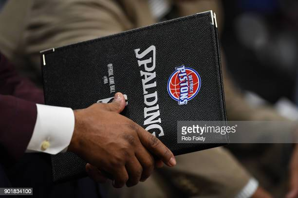 A detailed view of a Detroit Pistons Spalding playbook during the first half of the game against the Miami Heat at American Airlines Arena on January...