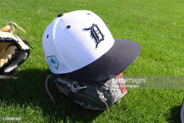 A detailed view of a Detroit Tigers Spring Training hat during workouts at the TigerTown Complex on February 14 2019 in Lakeland Florida