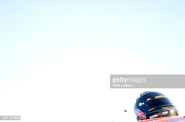 A detailed view of a drivers helmet during the NASCAR KN Toyota/NAPA Auto Parts 150 at the All American Speedway on October 11 2014 in Roseville...