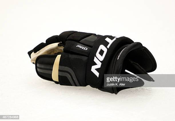 A detailed view of a Easton hockey glove during the game between the Pittsburgh Penguins and the Columbus Blue Jackets at Consol Energy Center on...