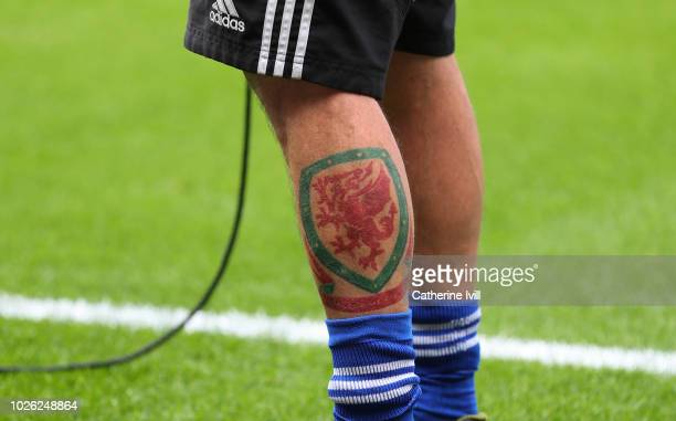 Detailed view of a fan with a tattoo of the Wales crest during the Premier League match between Cardiff City and Arsenal FC at Cardiff City Stadium...