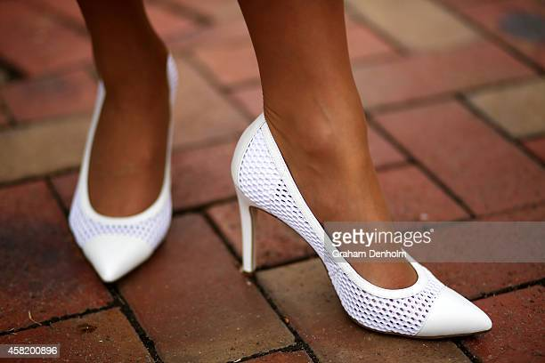 A detailed view of a Fashions on the Field entrant's shoes in the Fashion on the Field enclosure on Victoria Derby Day at Flemington Racecourse on...