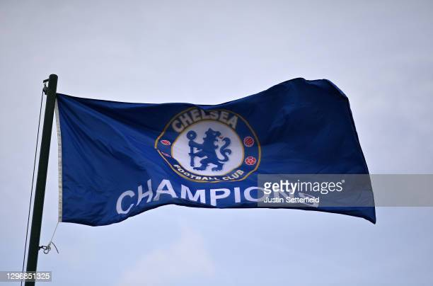 Detailed view of a flag prior to the Barclays FA Women's Super League match between Chelsea Women and Manchester United Women at Kingsmeadow on...