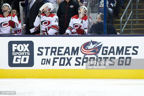 A detailed view of a Fox Sports Go logo during a game between the Columbus Blue Jackets and the Caroling Hurricanes on November 10 at Nationwide...