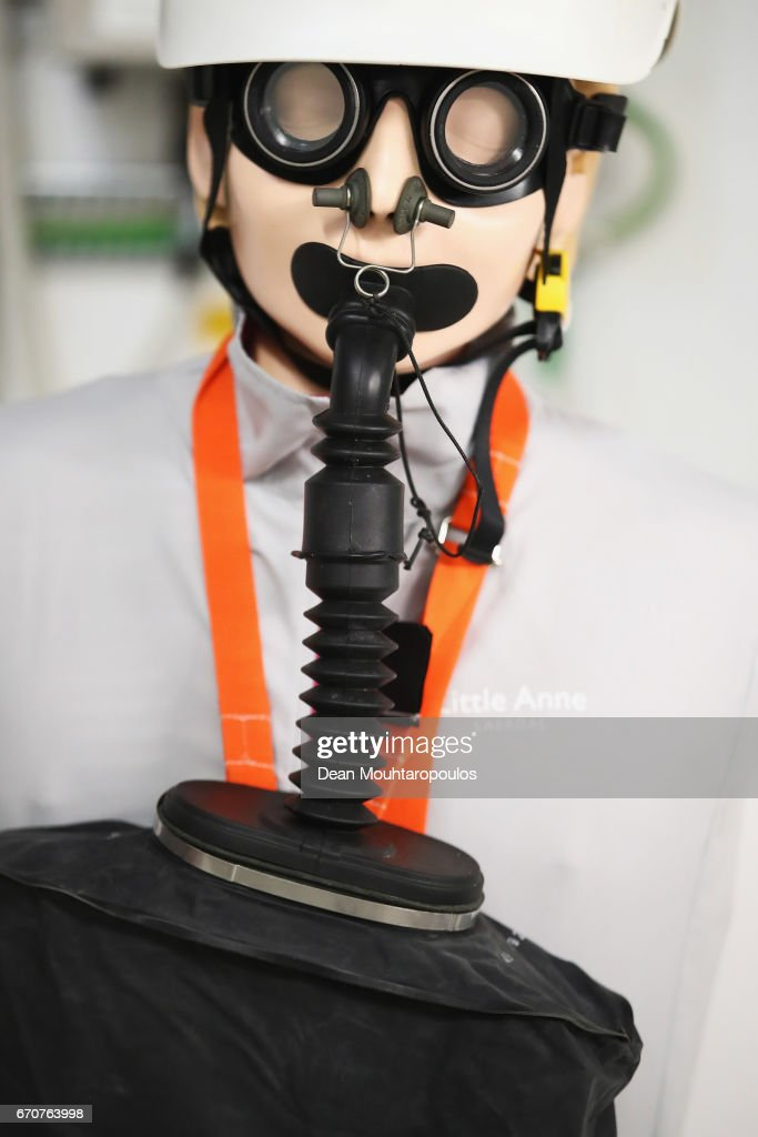 A detailed view of a gask mask and safety equipment unit near the entrance to the cavern during a behind the scenes tour at CERN, the World's Largest Particle Physics Laboratory on April 19, 2017 in Meyrin, Switzerland. (Photo by Dean Mouhtaropoulos/Getty Images) The Compact Muon Solenoid (CMS) is a general-purpose detector at the Large Hadron Collider (LHC). It has a broad physics programme ranging from studying the Standard Model (including the Higgs boson) to searching for extra dimensions and particles that could make up dark matter. The CMS detector lies 100m underground into the experimental cavern. The complete detector is 21 metres long, 15 metres wide and 15 metres high.