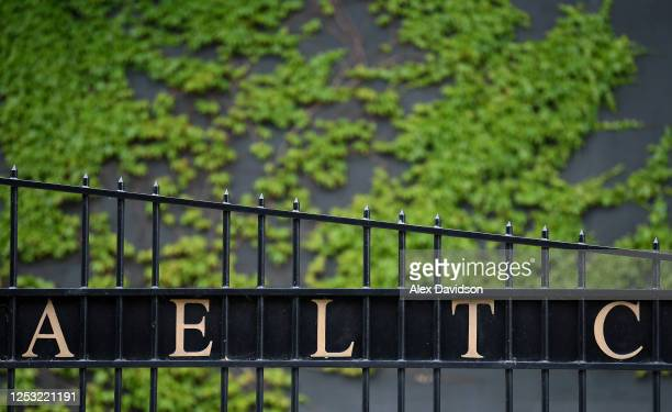 A detailed view of a gate outside The All England Tennis and Croquet Club on June 29 2020 in Wimbledon England The Wimbledon Tennis Championships...
