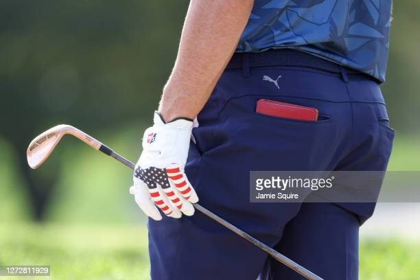 Detailed view of a glove worn by Gary Woodland of the United States is seen during a practice round prior to the 120th U.S. Open Championship on...