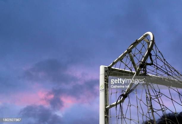 Detailed view of a goalpost and net ahead of the Sky Bet Championship match between Wycombe Wanderers and Derby County at Adams Park on February 16,...