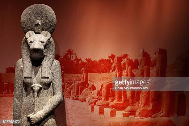 A detailed view of a Goddess Sekhmet whom also is a Solar deity sometimes called the daughter of the sun god Ra and often associated with the...
