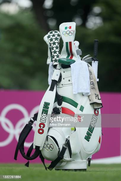Detailed view of a golf bag belonging to Gaby Lopez of Team Mexico is seen on the 18th tee during the first round of the Women's Individual Stroke...