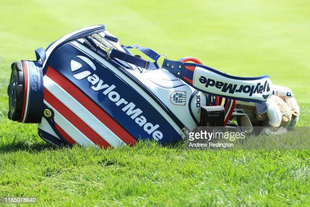 A detailed view of a golf bag belonging to Martin Kaymer of Germany is seen during a practice round prior to the 2019 US Open at Pebble Beach Golf...