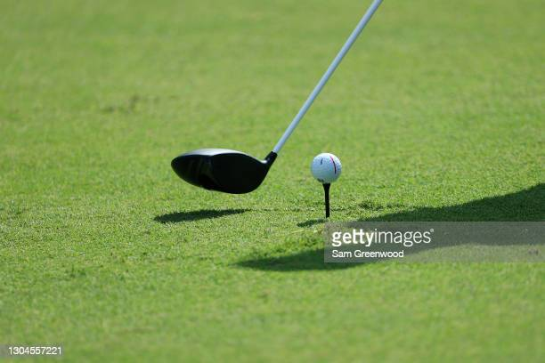 Detailed view of a golf ball belonging to Bryson DeChambeau of the United States is seen as he prepares to play the third hole during the final round...