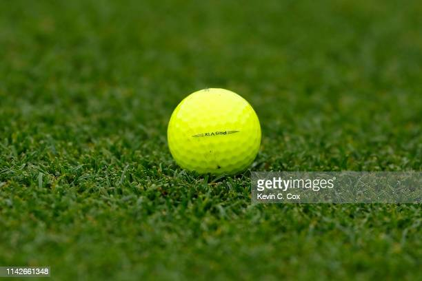 A detailed view of a golf ball belonging to Bubba Watson of the United States is seen on the 18th green during the final round of the Masters at...