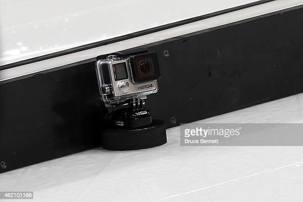 A detailed view of a GoPro Hero4 on the ice during the Gatorade NHL Skills Challenge Relay event of the 2015 Honda NHL AllStar Skills Competition at...