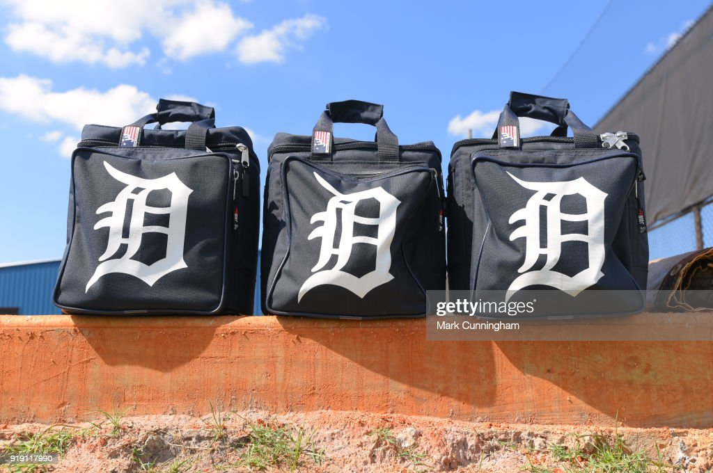 A detailed view of a group of Detroit Tigers equipment bags during Spring Training workouts at the TigerTown Facility on February 16, 2018 in Lakeland, Florida.