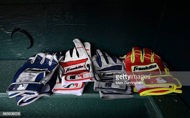 A detailed view of a group of Franklin batting gloves sitting in the Cleveland Indians dugout prior to the game against the Detroit Tigers at...