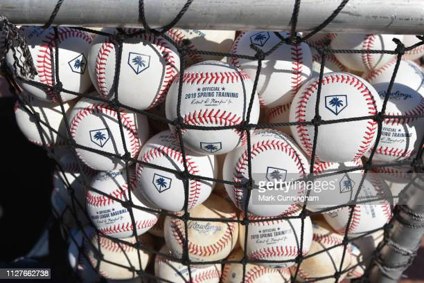 A detailed view of a group of official Rawlings Spring Training baseballs prior to the Spring Training game between the Detroit Tigers and the...