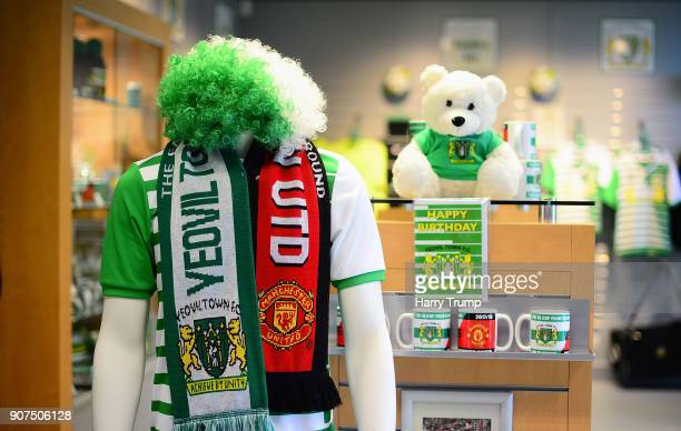 Detailed view of a half and half scarf in prepartion for the visit of Manchester United to Huish Park on Friday during the Sky Bet League Two match...