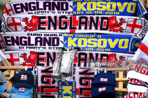 Detailed view of a half-and-half scarf outside the ground ahead of the UEFA Euro 2020 qualifier match between England and Kosovo at St. Mary's...