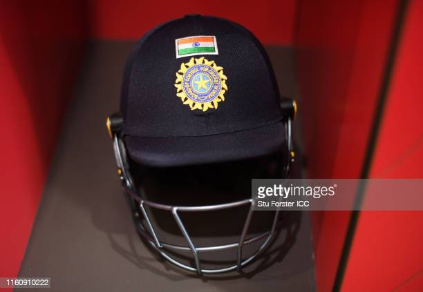 Detailed view of a India helmet inside the India Changing Rooms during the Semi-Final match of the ICC Cricket World Cup 2019 between India and New...
