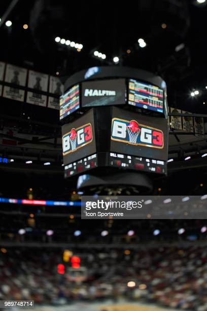 A detailed view of a jumbotron with the BIG3 logo displayed is seen during a game in week two of the BIG3 three on three basketball league on June 29...
