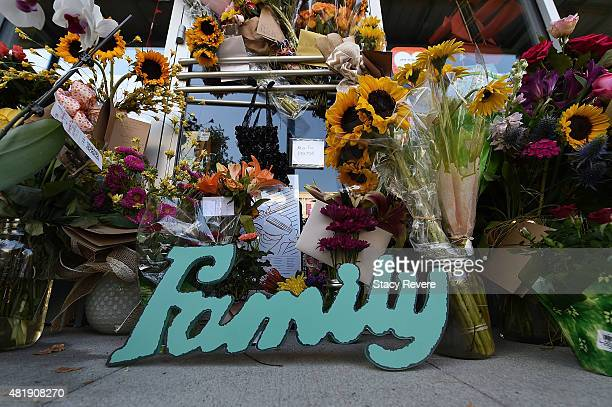 Detailed view of a makeshift memorial outside of a store owned by one of the victims Jillian Johnson on July 25 2015 in Lafayette Louisiana Two...