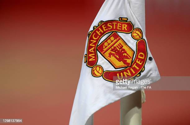 Detailed view of a Manchester United badge on a corner flag ahead of The Emirates FA Cup Fourth Round match between Manchester United and Liverpool...