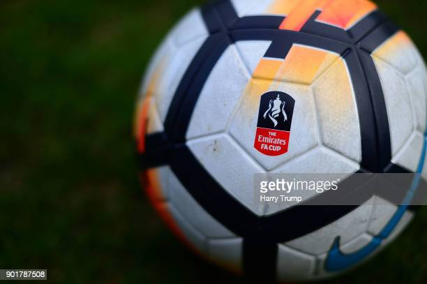 Detailed view of a Match Ball during The Emirates FA Cup Third Round match between Yeovil Town and Bradford City at Huish Park on January 6, 2018 in...