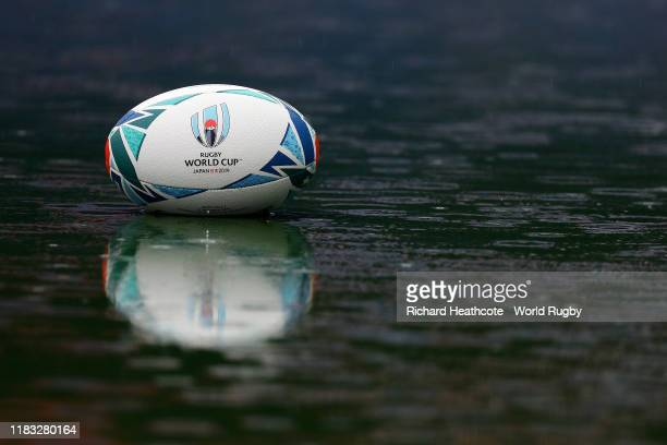 A detailed view of a match ball during the South Africa Captain's run at the International Stadium Yokohama ahead of the Rugby World Cup 2019 Semi...