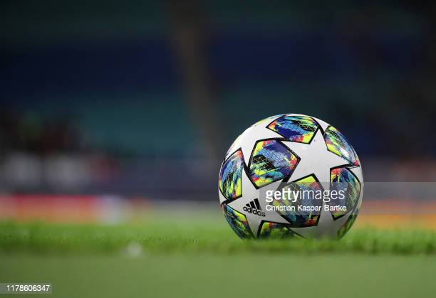 Detailed view of a match ball during the UEFA Champions League group G match between RB Leipzig and Olympique Lyon at Red Bull Arena on October 02...