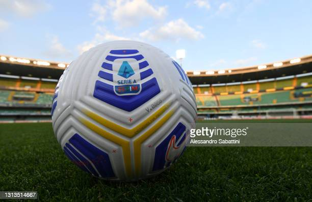 Detailed view of a match ball prior to the Serie A match between Hellas Verona FC and ACF Fiorentina at Stadio Marcantonio Bentegodi on April 20,...