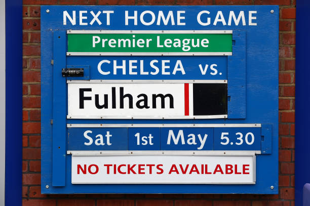 Detailed view of a match information board is seen outside the ground prior to the Premier League match between Chelsea and Fulham at Stamford Bridge...