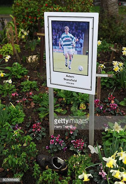 Detailed view of a memorial board dedicated to former Yeovil Town player Adam Stansfield outside of Huish Park during the Sky Bet League Two match...