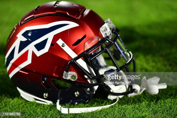 A detailed view of a Memphis Express helmet is seen before the Alliance of American Football game against the Orlando Apollos on February 23 2019 in...