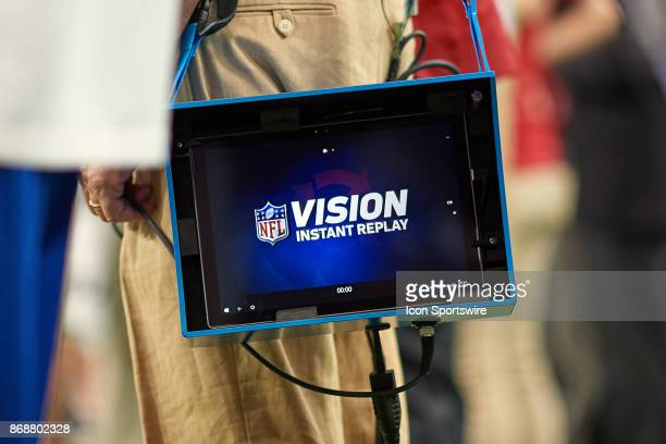 A detailed view of a Microsoft Surface Tablet being used as a portable NFL Vision Instant Replay screen during the NFL game between the Arizona...