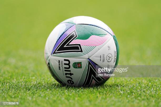 A detailed view of a Mitre Delta Max Carabao Cup ball prior to the Carabao Cup Second Round match between Reading and Luton Town at Madejski Stadium...