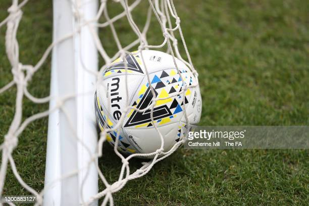 Detailed view of a Mitre match ball lying in the net ahead of the Barclays FA Women's Super League match between Arsenal Women and Manchester City...