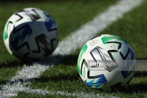 Detailed view of a MLS soccer ball at Audi Field on March 7, 2020 in Washington, DC.